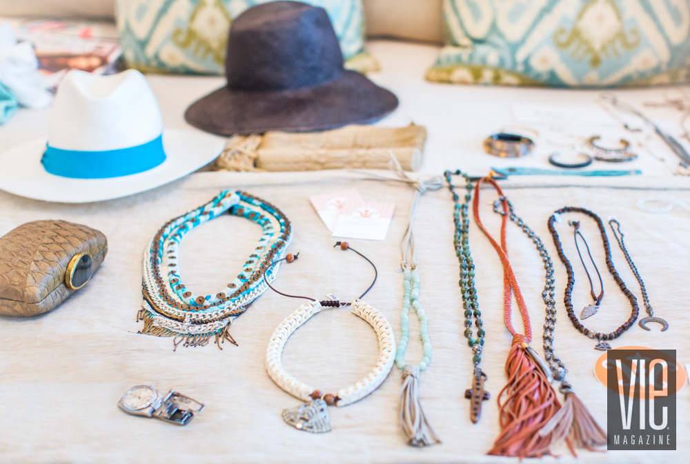 Assortment of jewelry and hats