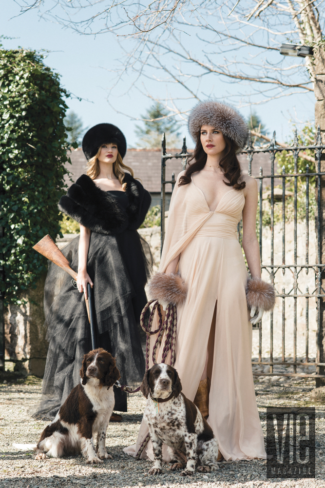 Beautiful Irish models Clara McSweeney and Faye Dinsmore in Christian Siriano Gowns