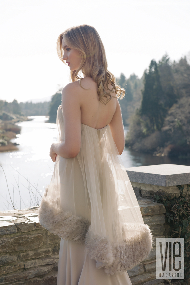 Clara McSweeney in Christian Siriano gown overlooking the Owenmore River Ireland