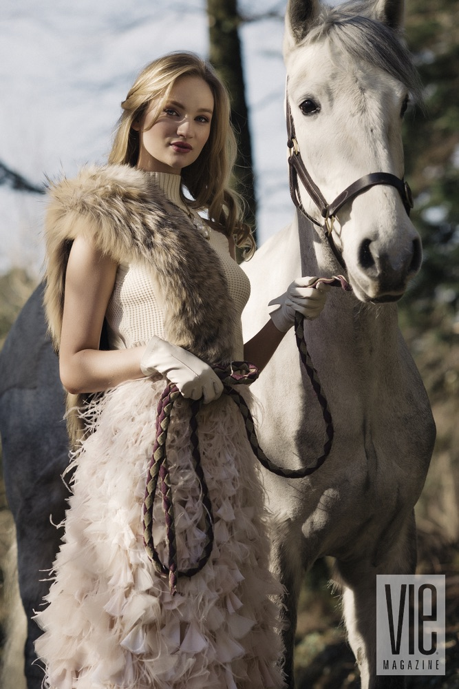 Beautiful Irish Model Clara McSweeney with her white horse at Ballynahinch Castle