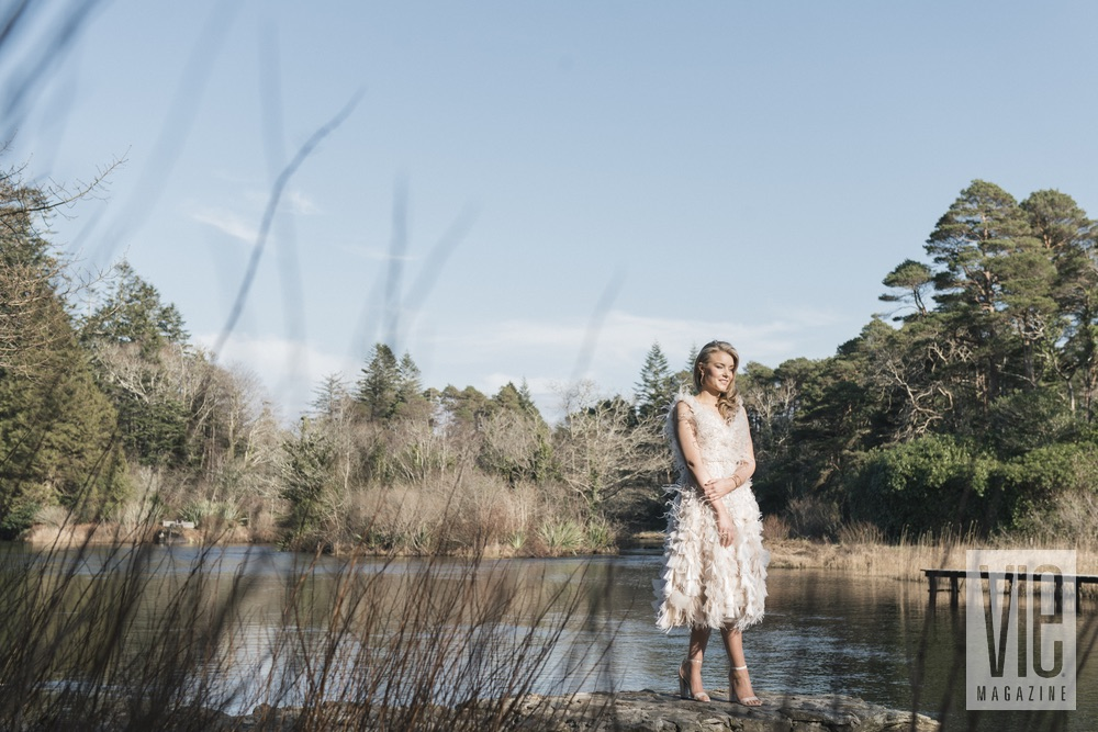 Irish model wearing Christian Siriano by the water at Ballynahinch Castle