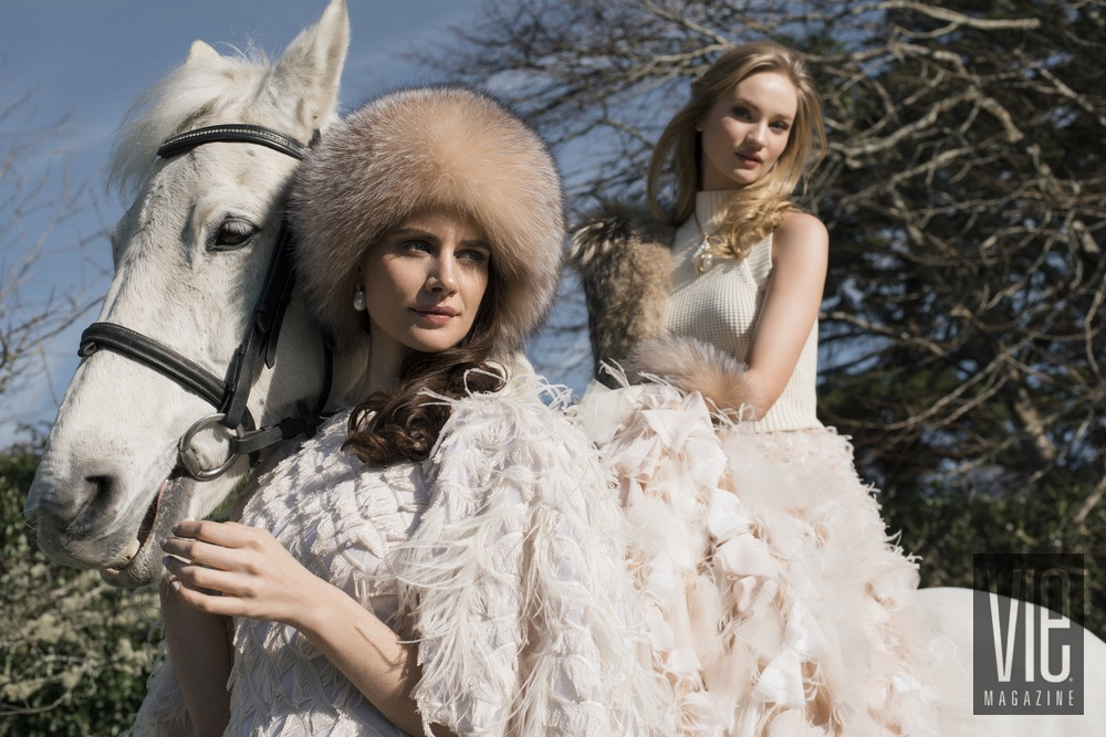 Irish models Faye Dinsmore with Clara McSweeney on her beautiful Connemara Pony Christian Siriano gowns