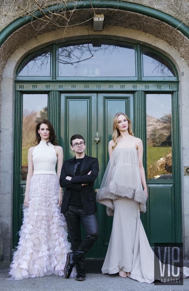 Model Faye Dinsmore, Designer Christian Siriano, and Model Clara McSweeney Ballynahinch Caslte
