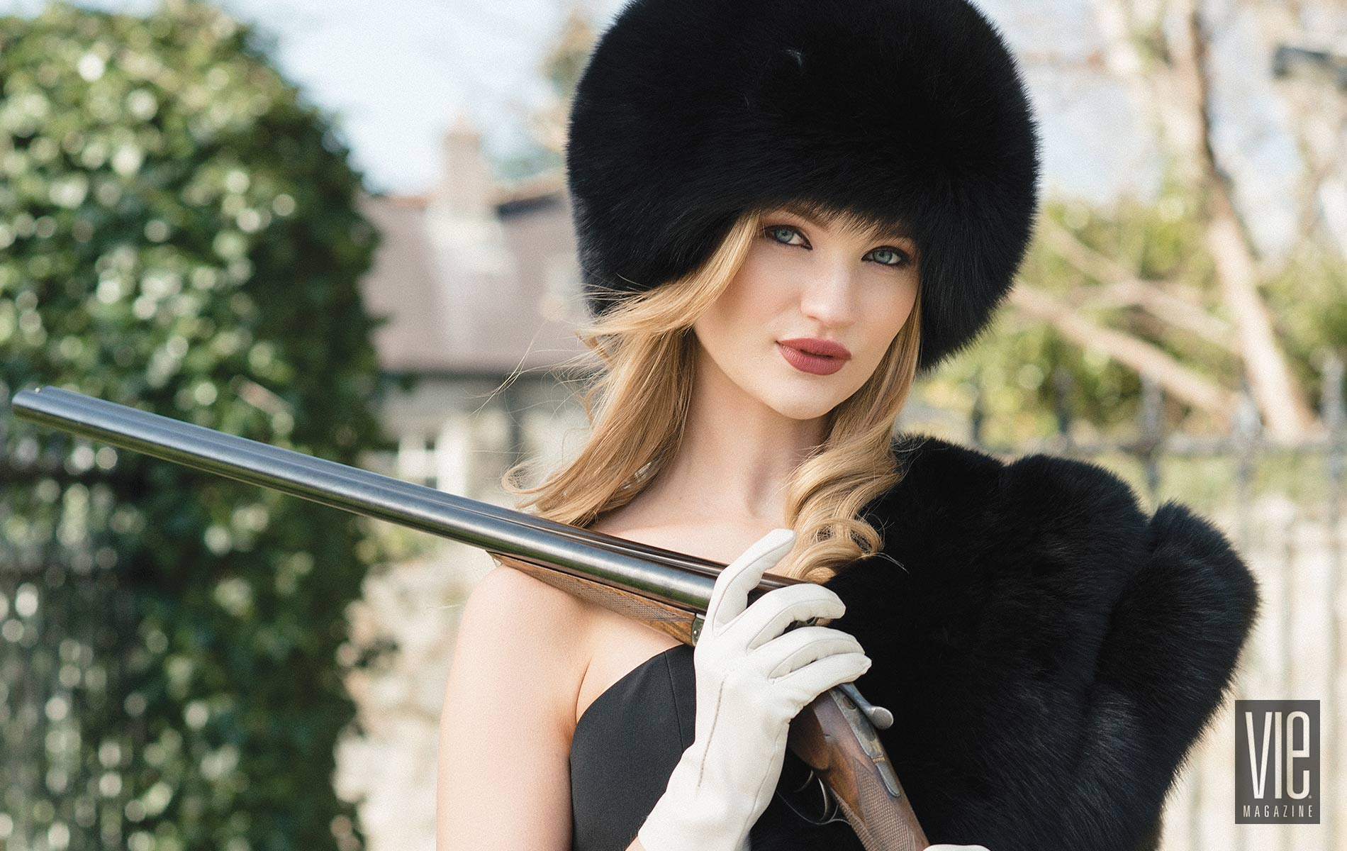 Beautiful Irish Model Clara McSweeney Christian Siriano Gown Surell Furs Hunting The Sophisticate Issue