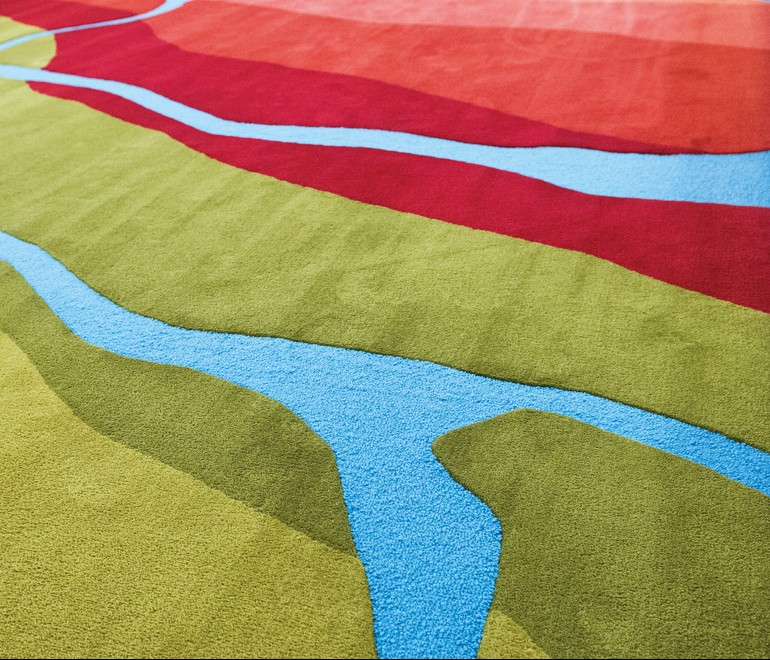 Detail shot of Connemara Carpet beautiful colors hand crafted Connemara Life 2016