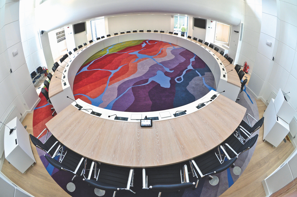 Seamless round carpet for the Galway County Council chamber Connemara Life 2016