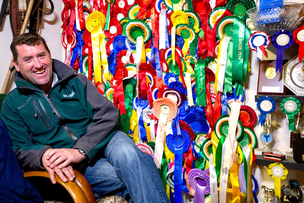 Malachy Gorham surrounded by pony show awards Connemara Life 2016