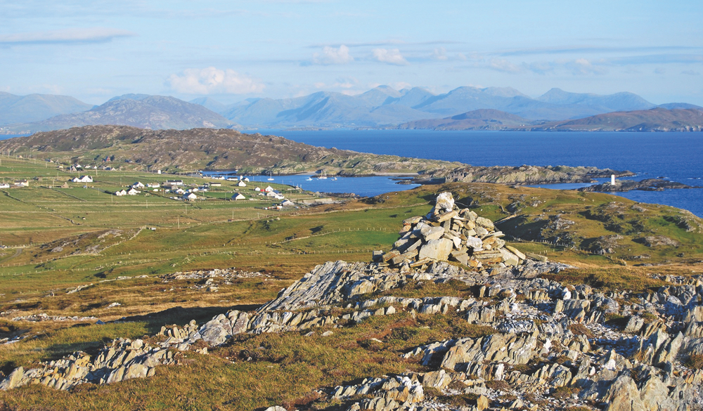 A glorious panoramic tapestry seen from atop Cnóc Mór in Inishbofin Ireland
