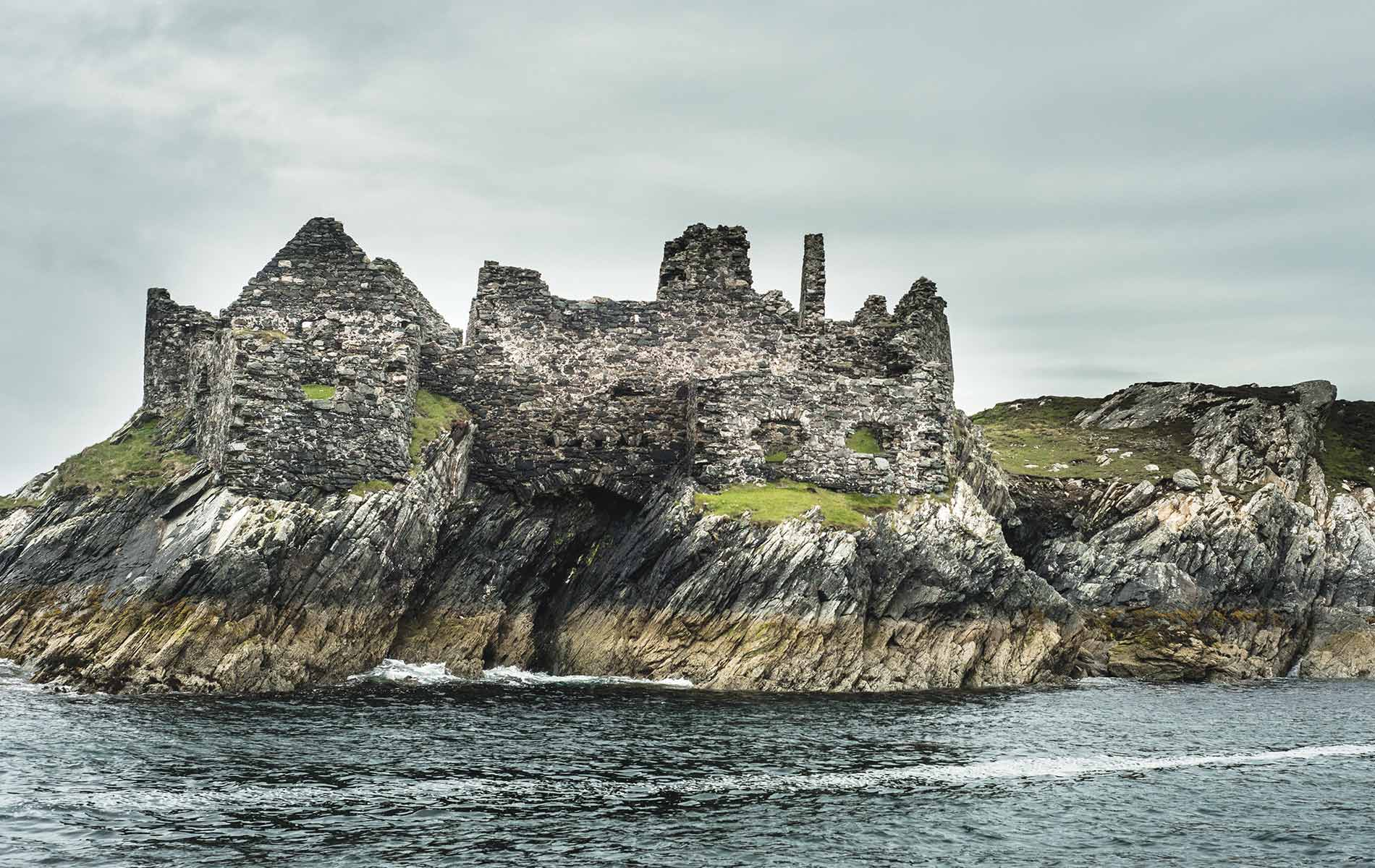 Abandoned castle ruins on Inishbofin island in Ireland