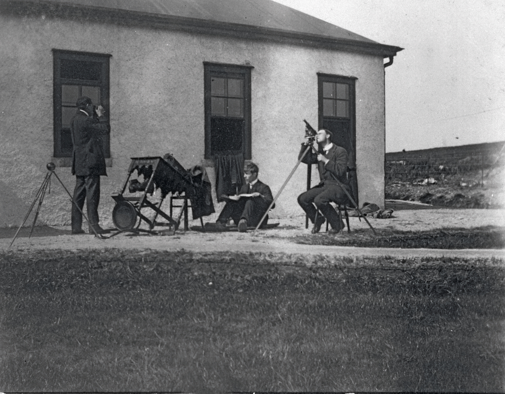 Engineers observe a total solar eclipse on 17 April 1912 from the Clifden Marconi Station.