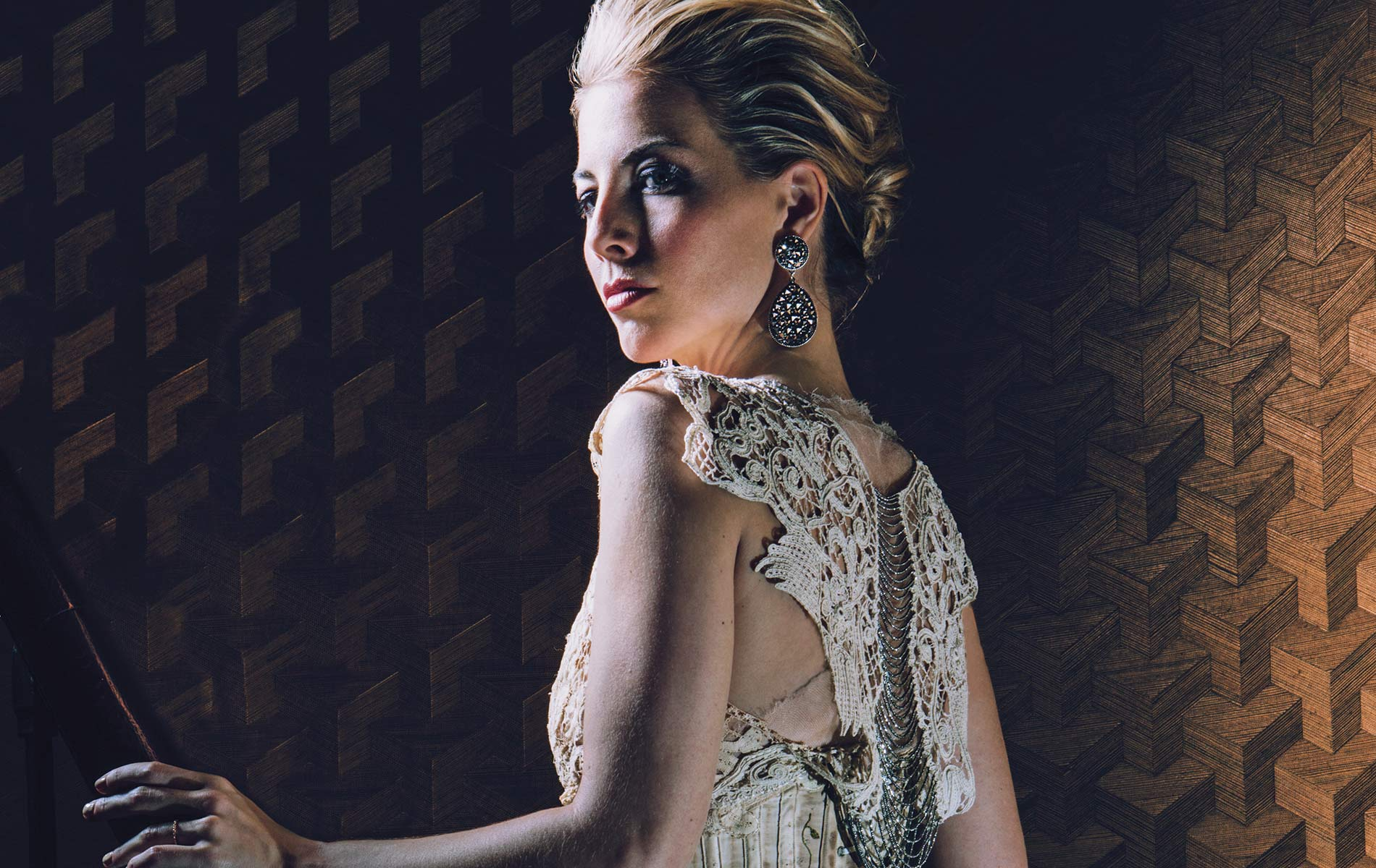 Morgan James donning a beautiful gown by New York-based designer Mimi Prober Sophisticate Issue