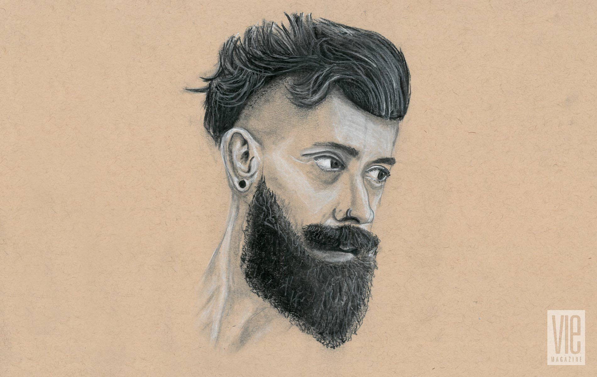 Bearded man charcoal drawing Rinn Garlanger