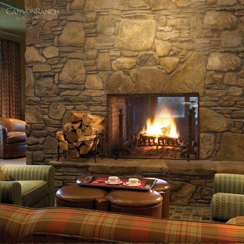 Fireplace and lounge at Canyon Ranch Resort & Spa Lenox, in Massachusetts, USA