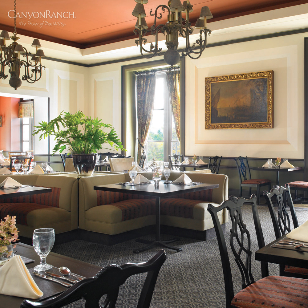 Dining room at Canyon Ranch Resort & Spa Lenox, in Massachusetts, USA