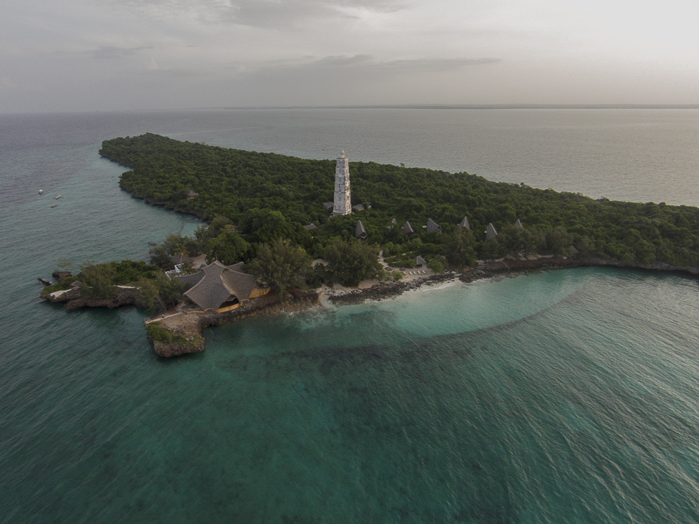 Aerial shot of Chumbe Island Coral Park
