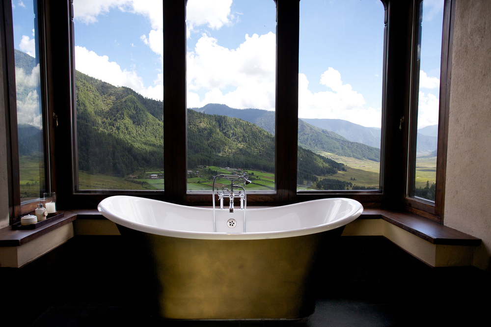 Bathtub view at at Gangtey Lodge in Gangtey, Bhutan