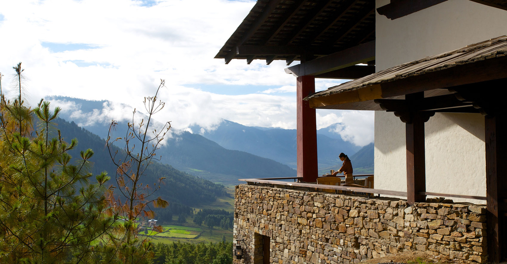 Exterior shot and view at Gangtey Lodge in Gangtey, Bhutan