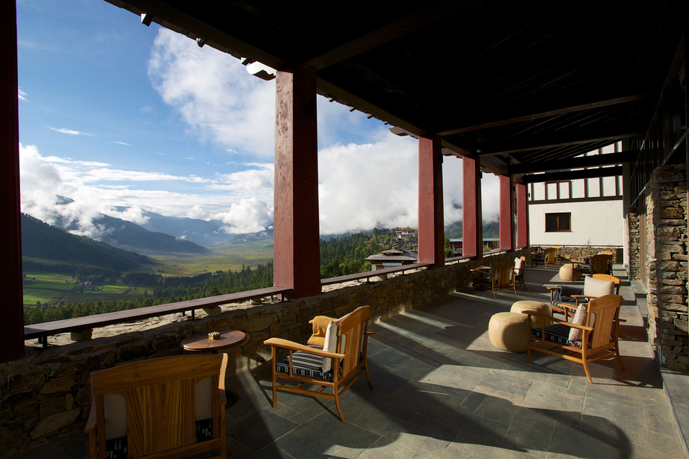 Outdoor deck at at Gangtey Lodge in Gangtey, Bhutan