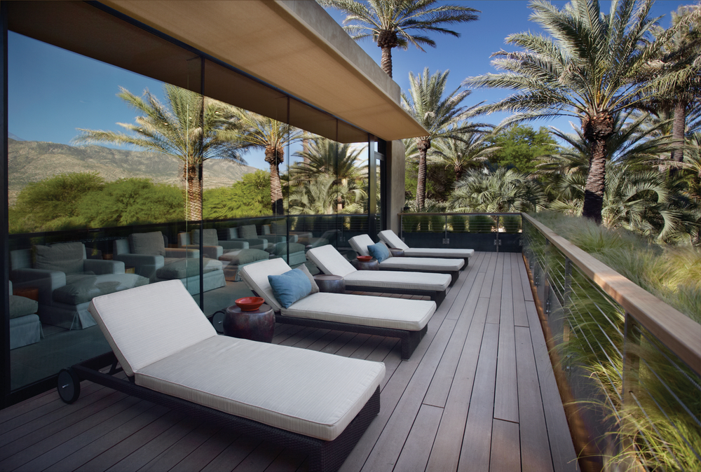 Lounging deck area at Miraval Resort in Tuscon, Arizona