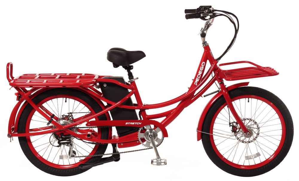 Product shot bright red bike Pedego Electric bicycle 30a
