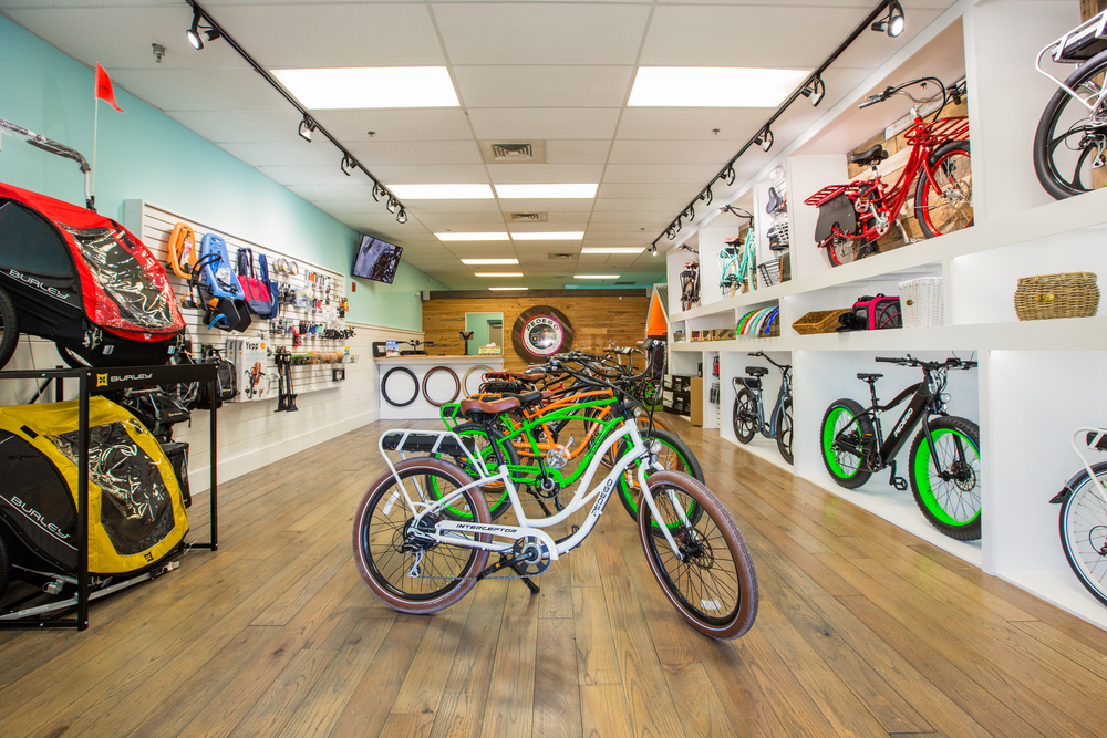 Interior shot of the Pedego Electric Bike shop on 30A