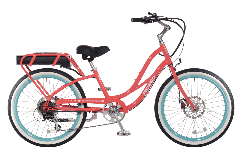 pink and blue cruiser bike pedego 30a electric bicycle