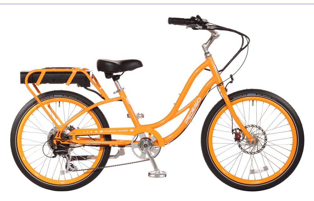 neon orange cruiser bike pedego 30a electric bicycle