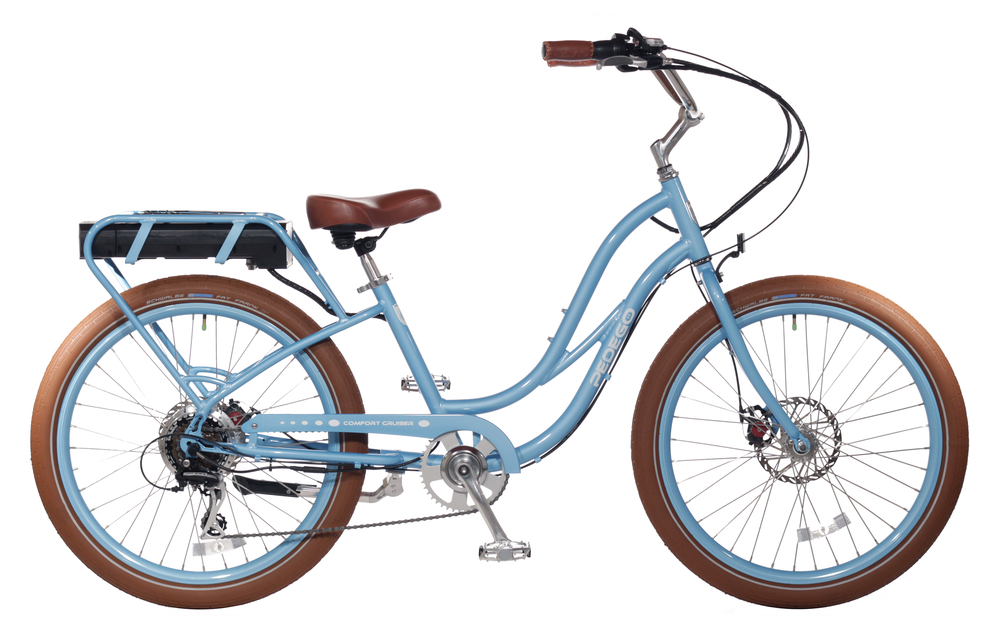 Light blue and brown cruiser bike pedego 30a electric bicycles