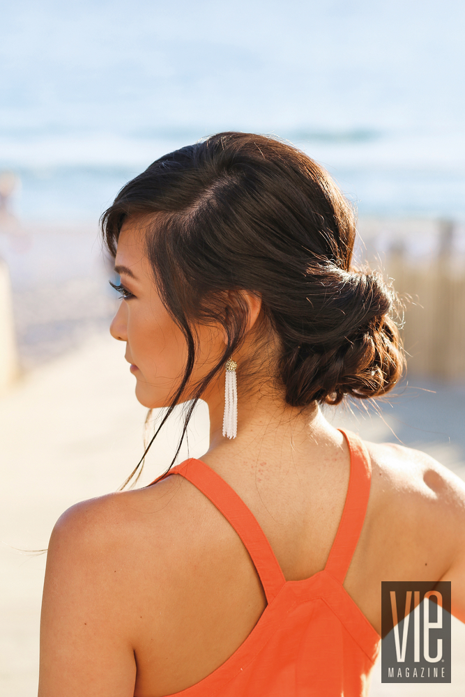 Side view hair tutorial at the beach VIE Health and Beauty Resort hair