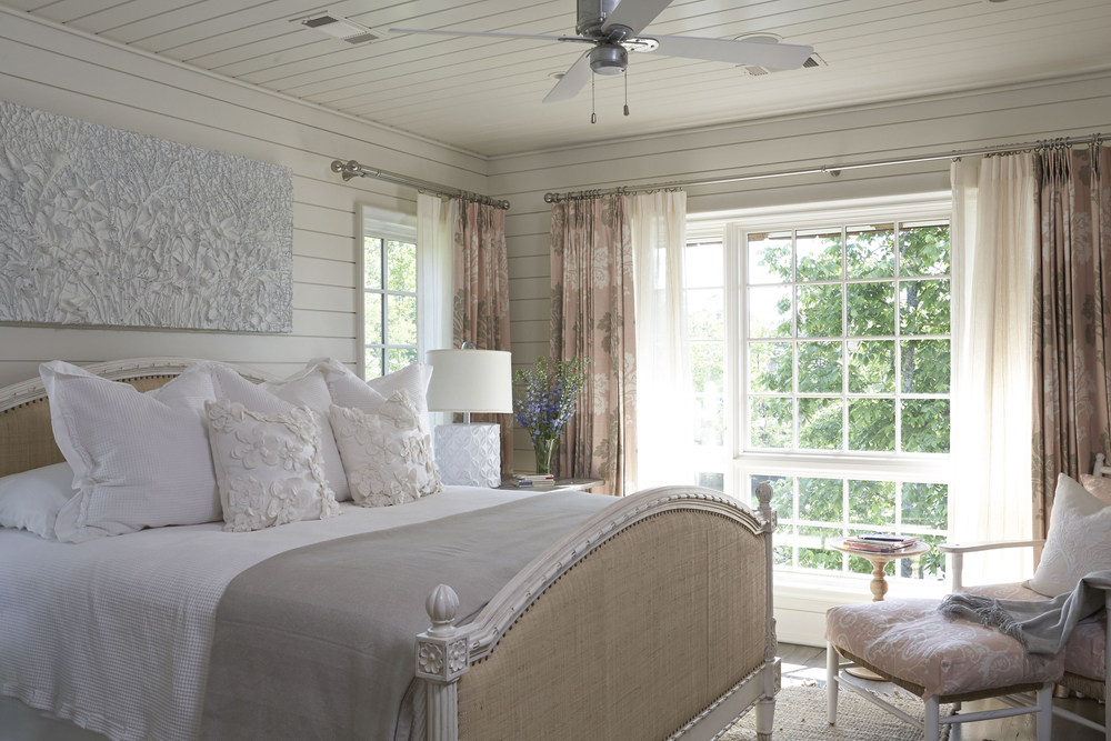 Bedroom with large window in Lake Martin Home Culinary and Couture 2017