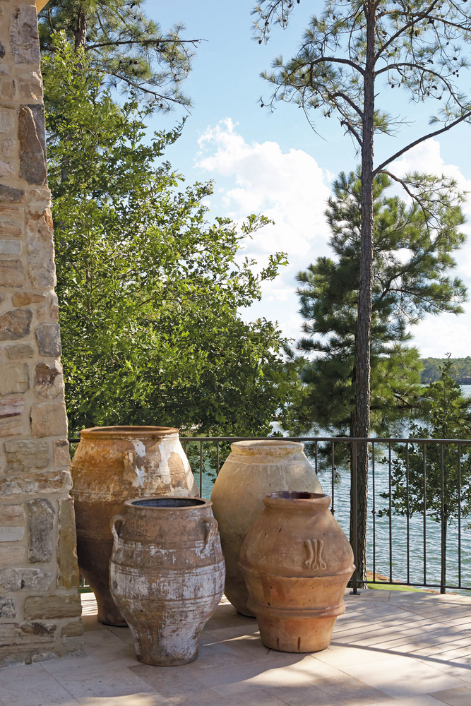 Outside urns at Lake Martin Home Luxurious Living 2017