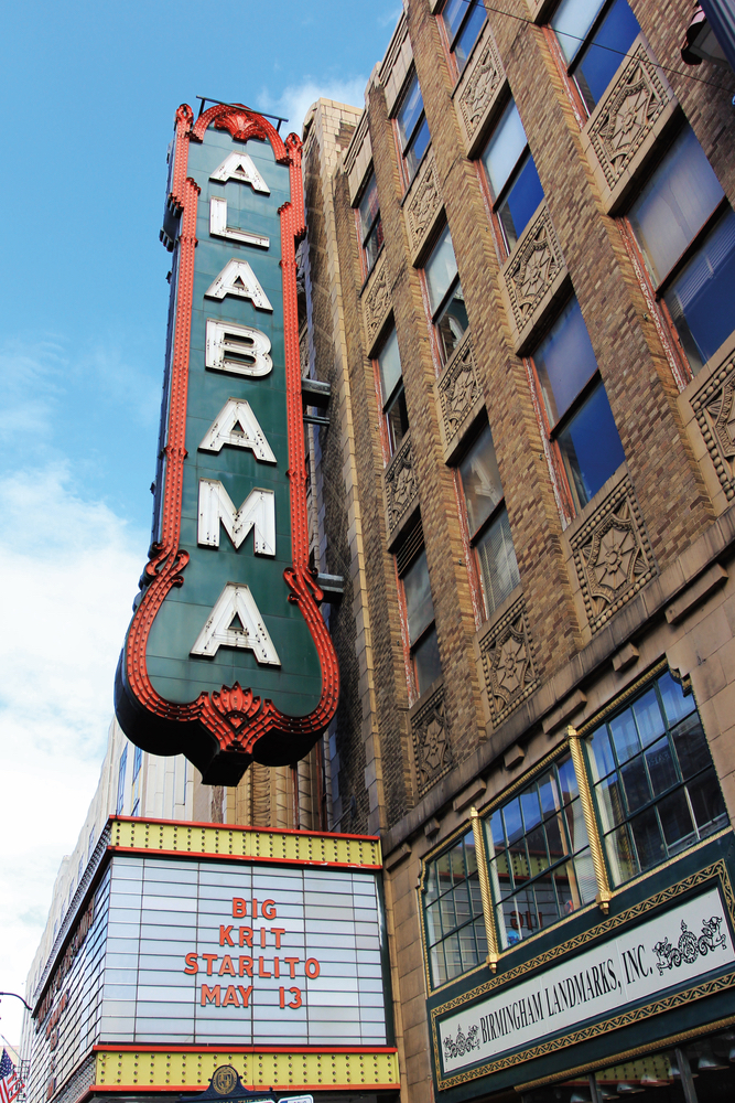 Exterior signage of the Alabama Theatre in Birmingham Alabama 1927 movie palace