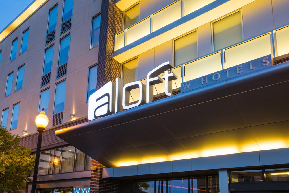 Exterior signage for Aloft hotel in Homewood, Birmingham, Alabama
