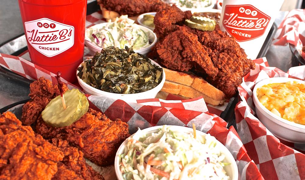 Detail shot of delicious plate from Hattie B's Hot Chicken in Birmingham Alabama