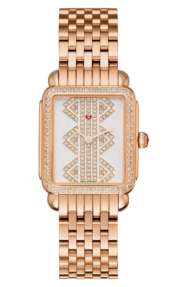 Michele Deco II Mid Diamond Dial Watch Case in Rose Gold, C'est la VIE Culinary and Couture