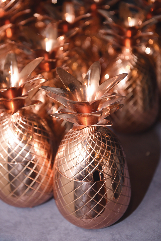 Elegant copper pineapple drinkware at Carnivale du Vin in NOLA
