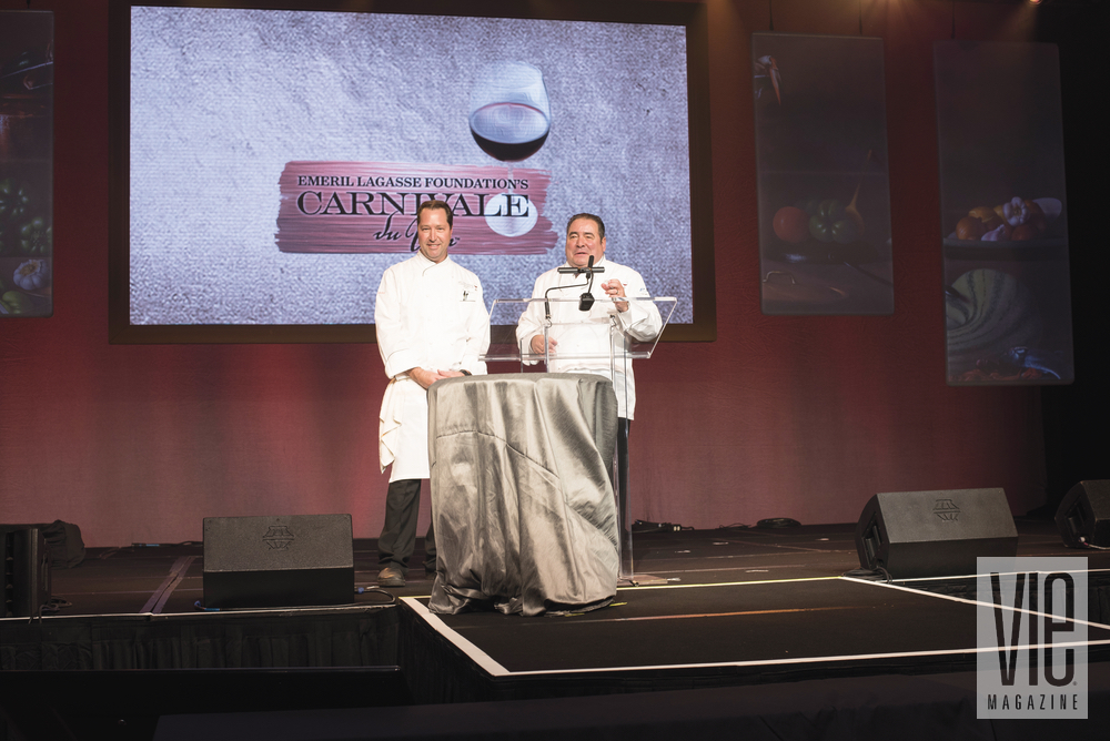 Emeril Lagasse with Chef Chris Wilson on stage at Carnivale du Vin in NOLA. Photo by Gerald Burwell.