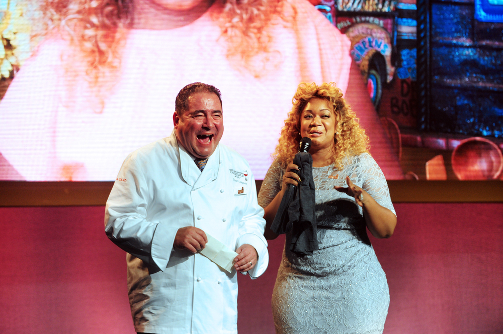 Food Network personality Sunny Anderson with Chef Emeril Lagasse at Carnivale du Vin in NOLA