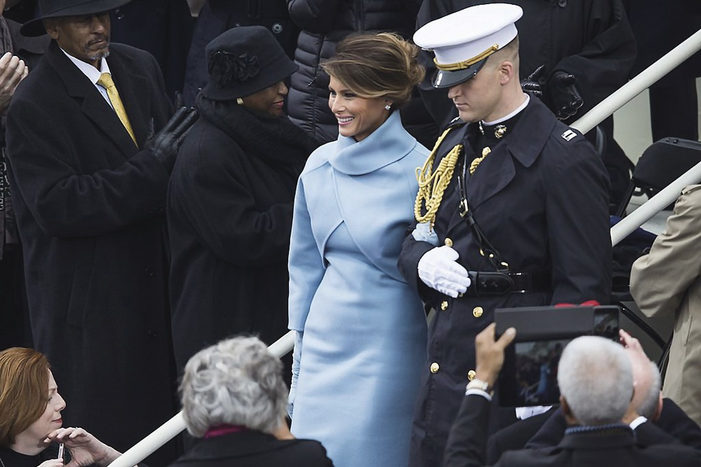 First Lady Melania Trump at the fifty-eighth Presidential Inauguration looking elegant dignified and classic