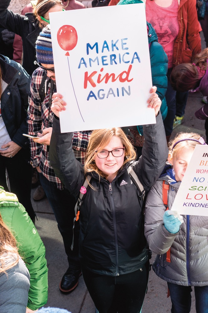 Make America Kind again sign held up at the Women's March on January 21, 2017