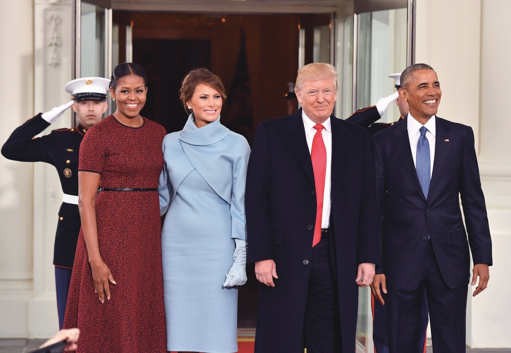 President Barack Obama and Michelle Obama pose with President-elect Donald Trump and wife Melania
