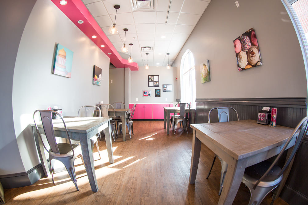 Interior of a Smallcakes Cupcakery and Creamery