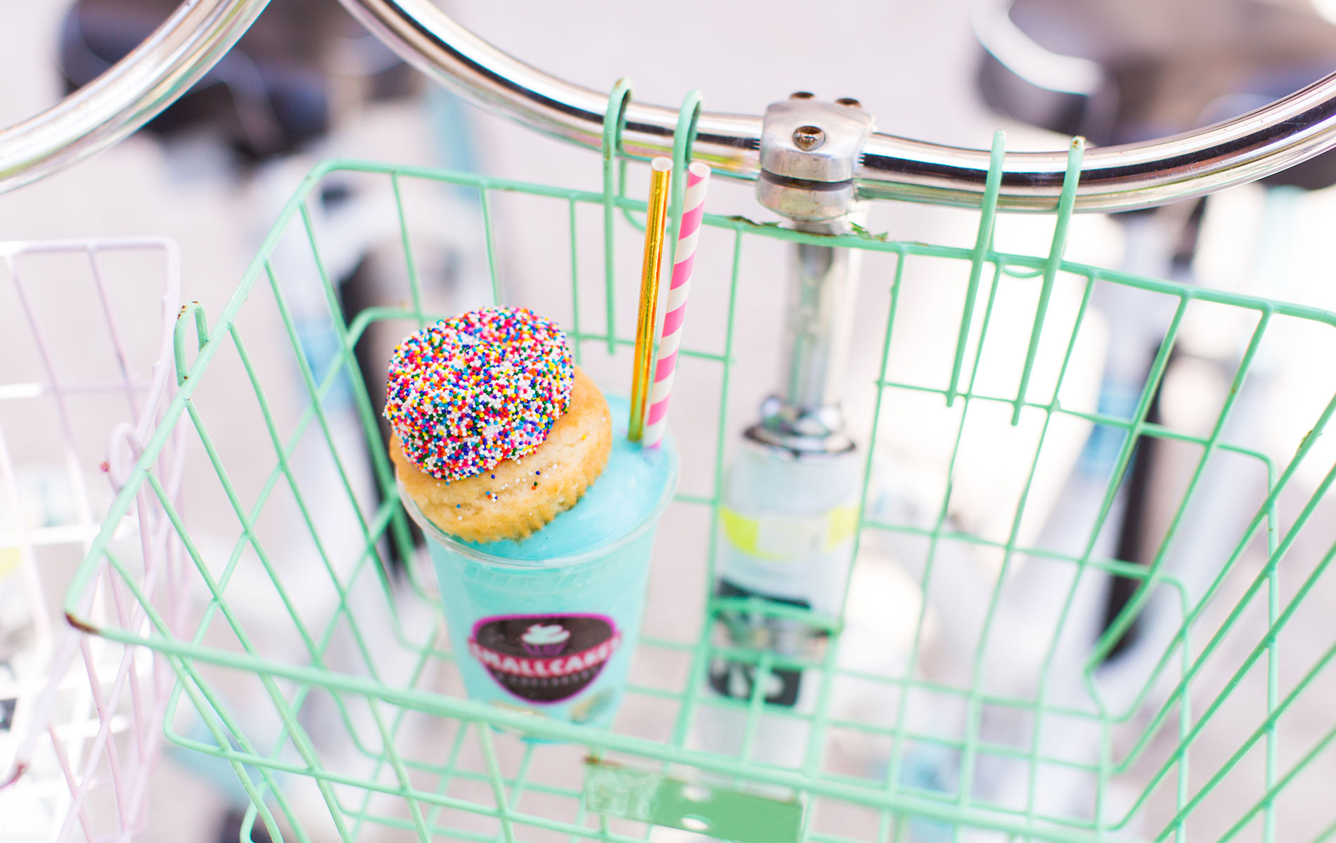 Smallcakes Cupcakery and Creamery, cupcake smoothie sitting in bike basket