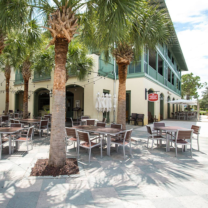 Chans Wine World Outdoor seating at WaterColor Florida