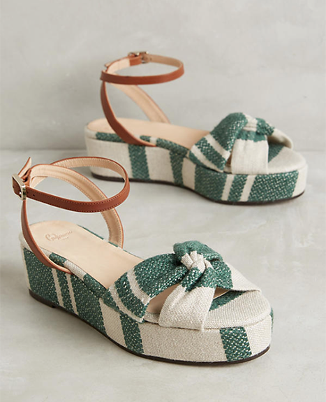 Anthropologie Canvas Platform Sandals
