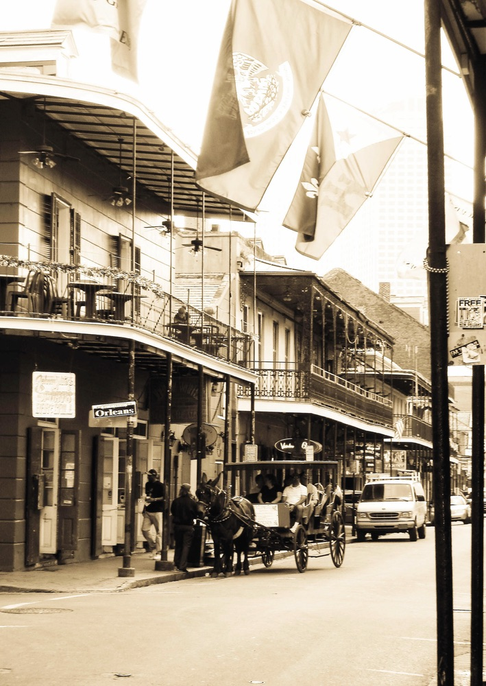 Street in old photograph of New Orleans