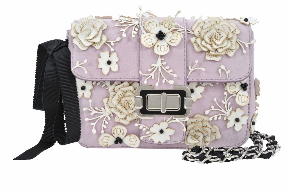 Monique Lhuillier Bianca Lilac Shoulder Bag