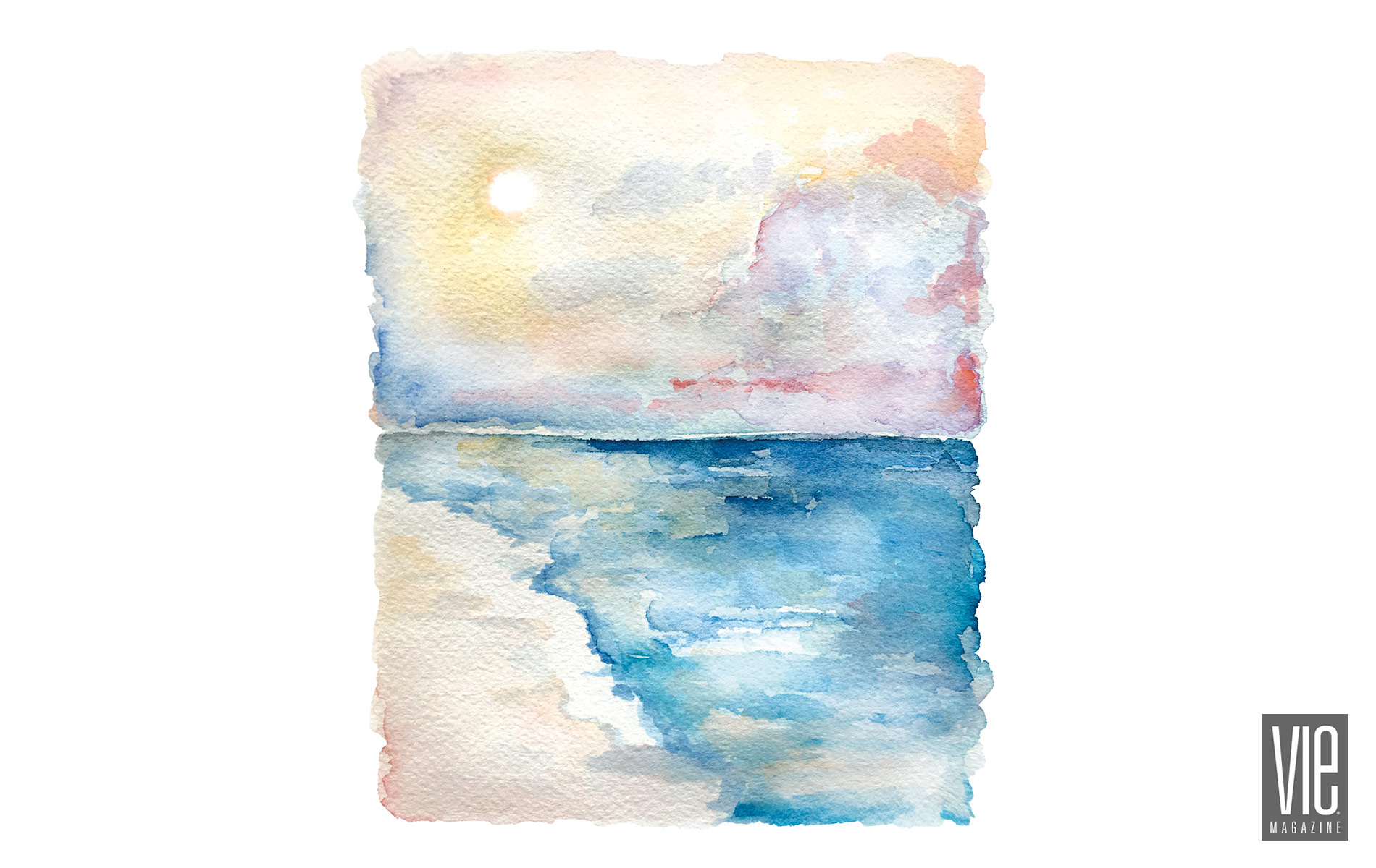 VIE Magazine Inspirational Column by Pamela Dowling, watercolor sunset by Lucy Mashburn