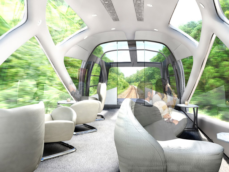 Inside the spacious lounge area of the Shiki Shima luxury train in Japan