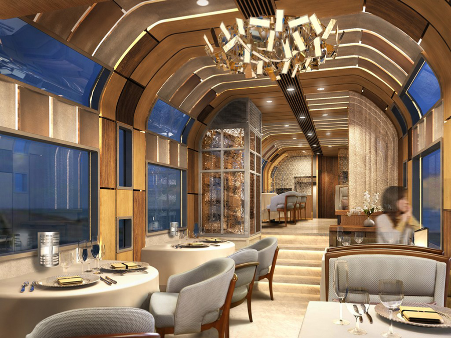 Dining room of Japan's luxurious Shiki Shima train